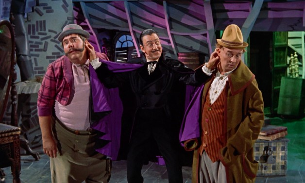 Gonzorgo (Henry Calvin), Barnaby (Ray Bolger), and Roderigo (Gene Sheldon) supply the film with an abundance of comic villainy.