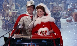 Tom (Tommy Sands) and Mary (Annette Funicello) take flight in the film's Christmasy closing shot.