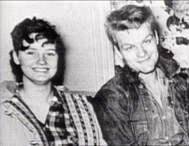 "The real Caril Ann Fugate and Charles Starkweather are pictured in a 1993 episode of A&E's ""American Justice"" dedicated to their crime spree."