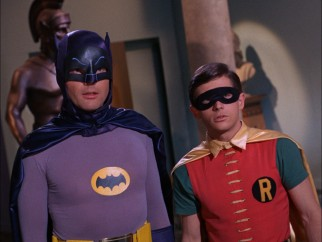 Batman (Adam West) and Robin (Burt Ward) are shot at a Dutch angle, meaning they must be in a villain's lair.