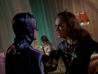 Batman frequently tangles with Catwoman (who is usually, but not always, played by Julie Newmar).