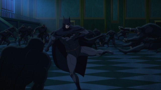 "Batman fends off hordes of Talons in the climax of the 2015 DC Universe animated film ""Batman vs. Robin."""