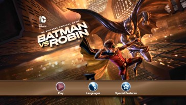 Robin and Batman battle on the Blu-ray's menu, as they do on the cover art.