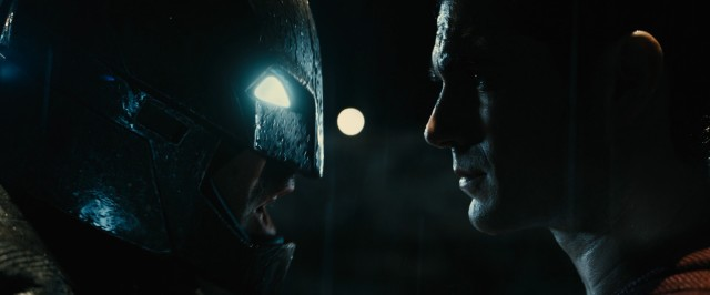 "Batman (Ben Affleck) and Superman (Henry Cavill) get real close to one another to battle in ""Batman v Superman: Dawn of Justice."""