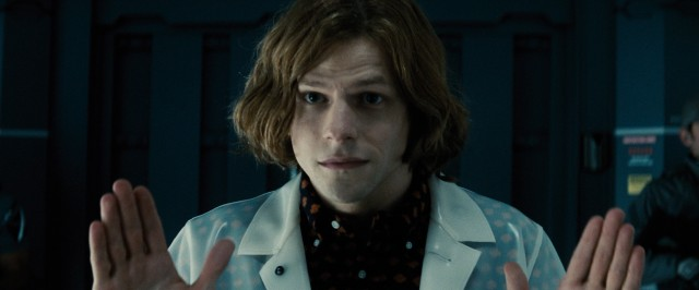 Jesse Eisenberg plays Lex Luthor as a twitchy entrepreneur with a full head of stringy hair.