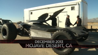 More than two years before the film's release, the Batmobile was being tested in the Mojave Desert.