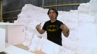 It's just Styrofoam now, but it will eventually become the Batcave.