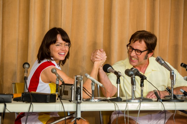 "In ""Battle of the Sexes"", women's tennis champion Billie Jean King (Emma Stone) agrees to play chauvinistic former men's champion Bobby Riggs (Steve Carell)."