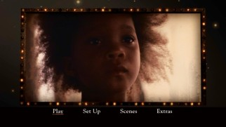 A Hushpuppy close-up briefly adorns the Beasts DVD's main menu marquee.