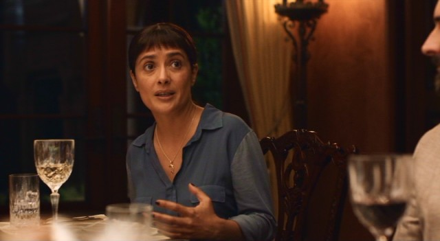 "Salma Hayek plays Beatriz Luna, a good-hearted holistic therapist who surprises her wealthy company with some frank, personal conversation in ""Beatriz at Dinner."""