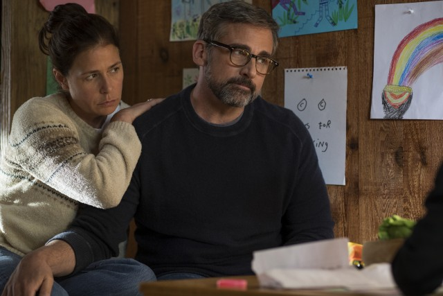 "With his wife Karen (Maura Tierney) at his side, a sad, gray, bearded David Sheff (Steve Carell) is troubled by his teenage son's methamphetamine addiction in ""Beautiful Boy."""