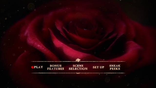 "The cursed rose features on the Beauty and the Beast DVD main menu, which didn't need to use the plural form ""bonus features."""