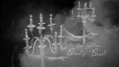 The Blu-ray's menu runs with this smoky shot of candelabra-wiedling arms, with the listings emerging from the left side.