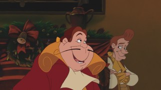 """Beauty and the Beast: The Enchanted Christmas"" opens with Cogsworth and Lumiere in their less recognizable and charming human forms."