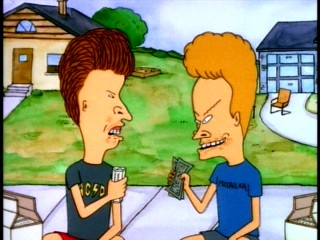 "Beavis and Butt-head quickly abandon selling chocolate bars door-to-door to buy each other's bars with the same $2 in ""Candy Sale."""