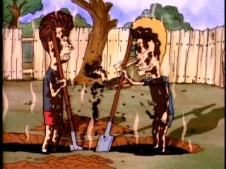 "Beavis and Butt-head think they've struck oil, but it's just poopy sewage in ""Beaverly Buttbillies."""