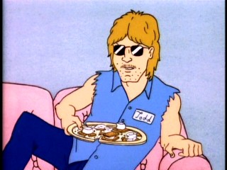 "Admired outlaw Todd disparages an offering of marshmallows and graham crackers as a guest in Beavis and Butt-head's ""Safe House."""