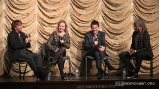 "Richard Linklater, Julie Delpy, Ethan Hawke, and Elvis Mitchell share a laugh in this ""Before Midnight"" Q & A session."