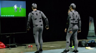"Bill Hader and Jemaine Clement walk in motion capture suits and watch their computer-animated counterparts do the same in ""Giants 101."""