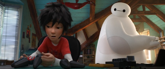 "Personal care companion Baymax tries to pick Hiro Hamada out of the dumps in Disney's ""Big Hero 6."""