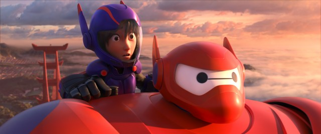 "Equipped with new armor and defense techniques, Baymax and Hiro soar above San Fransokyo in the Academy Award-nominated animated feature ""Big Hero 6."""
