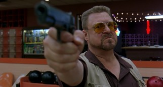 Temperamental Vietnam veteran Walter Sobchak (John Goodman), The Dude's friend and bowling partner, whips out his gun in response to a perceived foul.