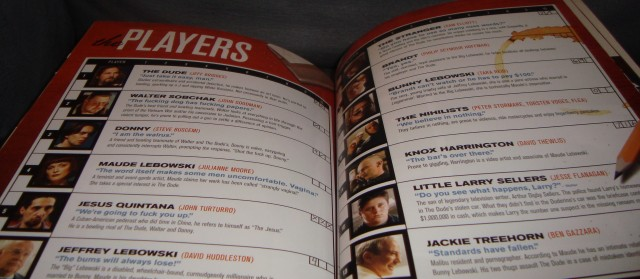 "The players of ""The Big Lebowski"" are profiled on these two pages of its Blu-ray book."