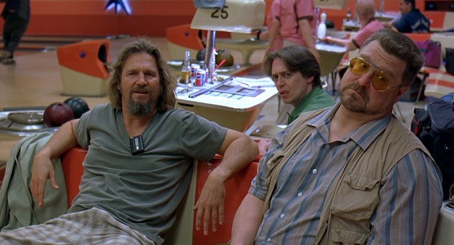 Bowling teammates The Dude (Jeff Bridges), Donny (Steve Buscemi), and Walter Sobchak (John Goodman) have different reactions to the taunts of Jesus Quintana.