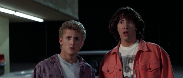 """Bill & Ted's Excellent Adventure"" stars Alex Winter and Keanu Reeves as dim-witted teenagers picked to travel through time in preparation for their History oral report."