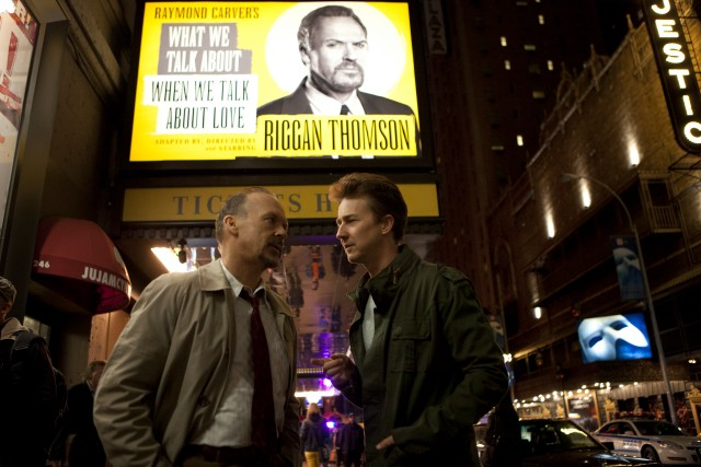 Outside the St. James Theatre, Riggan (Michael Keaton) has a chat with his substitute leading man Mike Shiner (Edward Norton).