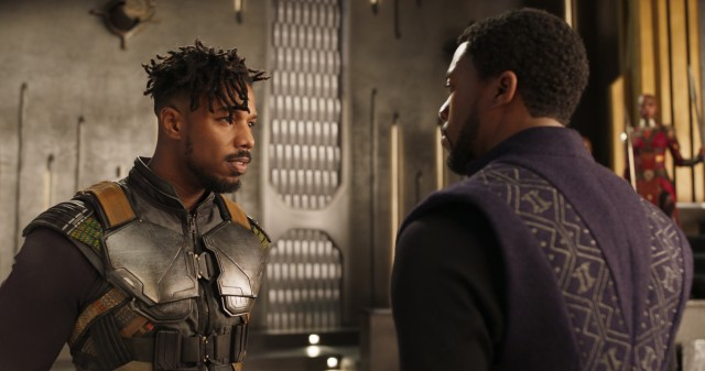 "Erik ""Killmonger"" Stevens (Michael B. Jordan) surprises T'Challa and other leaders with his seemingly well-founded claim to Wakanda's throne."