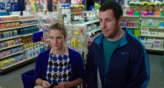 Lauren (Drew Barrymore) and Jim (Adam Sandler) awkwardly reunite in a drug store where they are buying pornography and tampons, respectively.