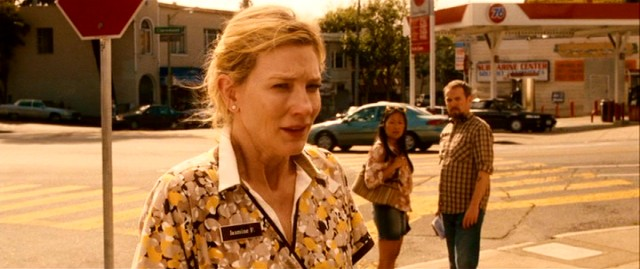 "Jasmine Francis (Cate Blanchett) catches passersby's attention with an impassioned speech directed at nobody in Woody Allen's ""Blue Jasmine."""