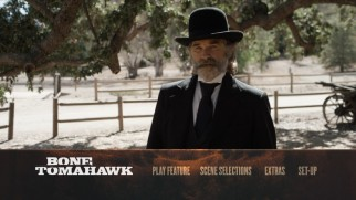 Kurt Russell thinks you should sit down on the Bone Tomahawk Blu-ray main menu.