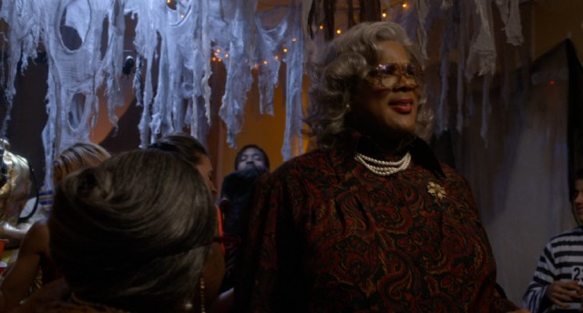 "Madea (Tyler Perry) crashes a fraternity's epic Halloween party in ""Boo! A Madea Halloween."""