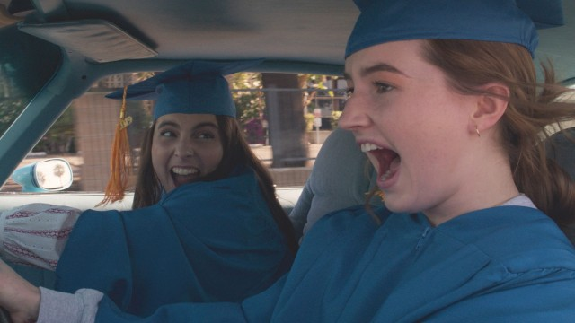Molly (Beanie Feldstein) and Amy (Kaitlyn Dever) make a mad drive to get to their graduation.