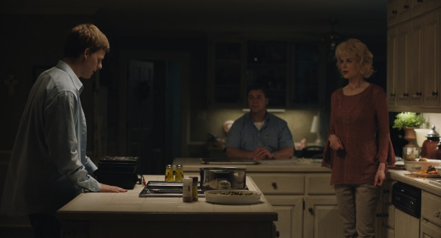 "Jared Earmons (Lucas Hedges) comes out as gay to his parents (Russell Crowe and Nicole Kidman) in the true drama ""Boy Erased."""