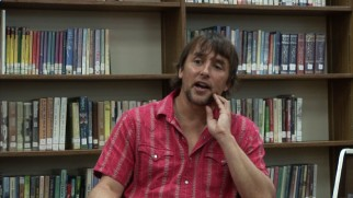 "Writer/director Richard Linklater discusses ""The 12 Year Project"" in a public library."