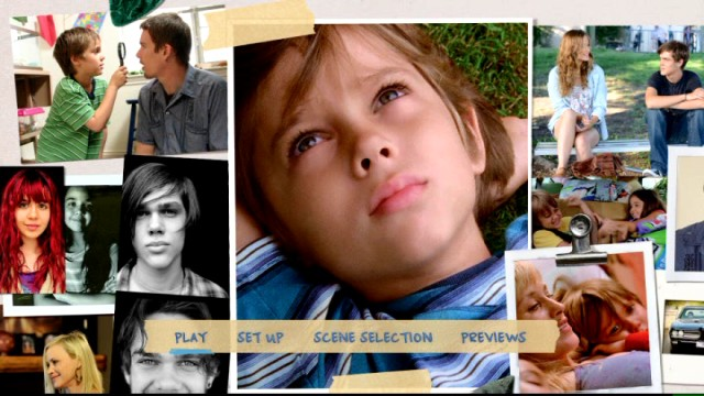 The Boyhood DVD may lack the Blu-ray's bonus features, but it keeps its nifty animated photo collage main menu.
