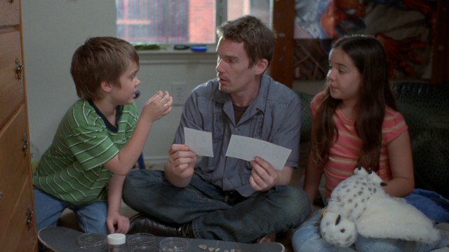 Cool divorced dad Mason (Ethan Hawke) is subjected to two separate conversations from his children Mason Jr. (Ellar Coltrane) and Samantha (Lorelei Linklater).