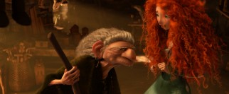 The woodcarver/witch reluctantly provides Merida with a spell for her troubles.