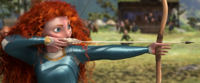 Merida shows up her suitors with her perfect archery skills.
