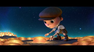 "A boy sweeps up glowing star-shaped moon rocks with his father and grandfather in the Pixar short film ""La Luna."""