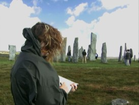 "Writer and original director Brenda Chapman sketches standing rocks on a Scotland research trip shown in ""Brave Old World."""