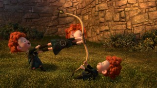 "The triplets put to use the archery lesson their big sister Merida has just given them in ""Launch."""