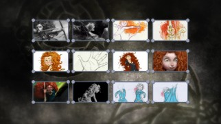 Merida designs are seen in thumbnail view in the Blu-ray's Characters Art Gallery.