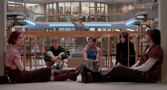 "Five high school students (Molly Ringwald, Anthony Michael Hall, Emilio Estevez, Ally Sheedy, and Judd Nelson) spend Saturday detention together in John Hughes' ""The Breakfast Club."""