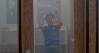 Stripped down to his tank top, a pot-fueled Andrew Clark (Emilio Estevez) lets out a scream that will shatter the glass in this door.