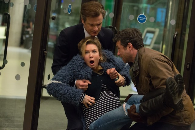 Ready to give birth, Bridget (Renée Zellweger) gets hand-delivered by her baby's two possible fathers: Mark Darcy (Colin Firth) and Jack Qwant (Patrick Dempsey).