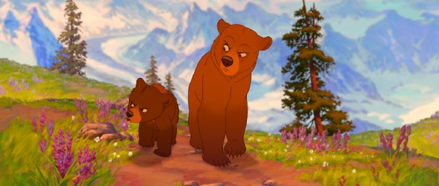 "Transformed into an animal he detests, Kenai isn't thrilled to be accompanied by chatty cub Koda to the salmon run in Disney's ""Brother Bear."""